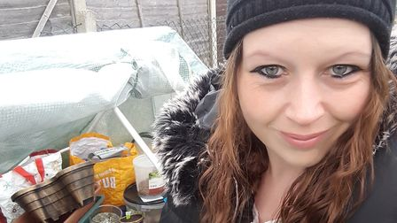 Paige Giles from Ipswich has spent some of her spare time making a vegetable patch Picture PAIGE GIL