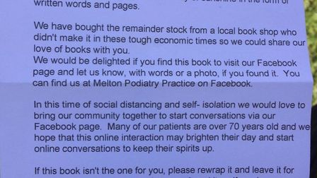 Joanna Rowles is hiding books for people to find around Melton and leaves a note inside to explain.