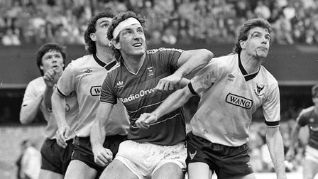 Terry Butcher in typically combative action for the Blues Picture: ARCHANT