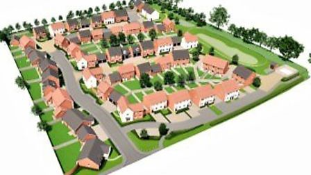Architects drawing of the approved 60 home scheme for Walsham le Willows. Picture: SAUNDERS BOSTON/L
