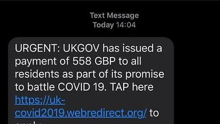 People are being warned about fake texts which are being sent offering financial support during the