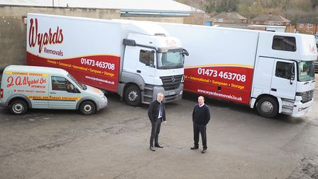 Wyards Removals for an EADT success story feature. Left to right, Mark Soames and owner Jeremy Wood.