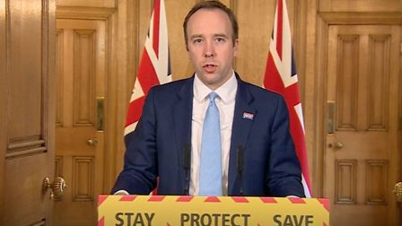 Health Secretary and West Suffolk MP Matt Hancock at the media briefing in Downing Street, London. P