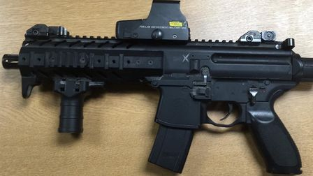 The Norfolk and Suffolk Roads and Armed Policing Team recovered this machine gun in Lowestoft. Pictu