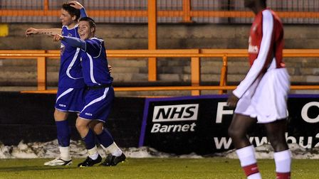 Connor Wickham celebrates his goal during Ipswich Town Under-18s' 2-0 win over hosts Arsenal Under-1