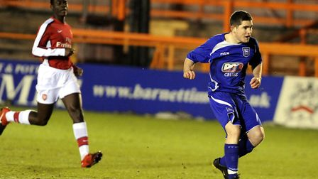 Ronan Murray opens the scoring during a 2-0 win for Ipswich Town Under-18s over Arsenal Under-18s at