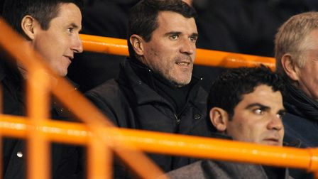 Ipswich Town boss Roy Keane watches from the mainstand at Barnet's Underhill in 2010, during an FA Y