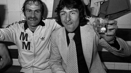 Mick Mills (left) and Brian Talbot after the 1978 FA Cup semi-final victory over West Brom