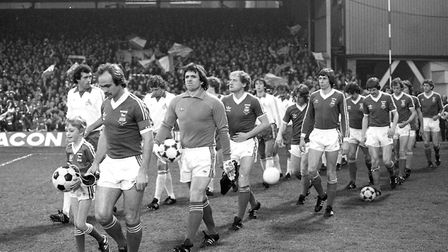 Mick Mills leads out the Ipswich Town team for the first leg of the UEFA Cup semi-final against Colo
