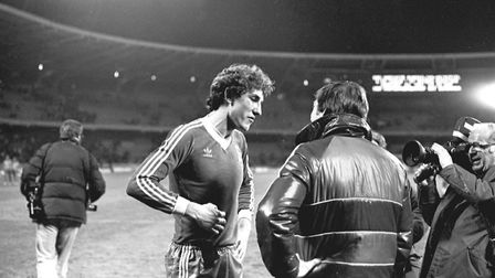 Terry Butcher is interviewed by reporter Stuart Jarrold after scoring the winning goal in the 1981 U