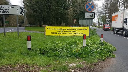 One sign had been placed on the A12 leading into the town Picture: DAVID BEAVAN