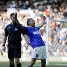 Carlos Edwards celebrates his late winner at Derby