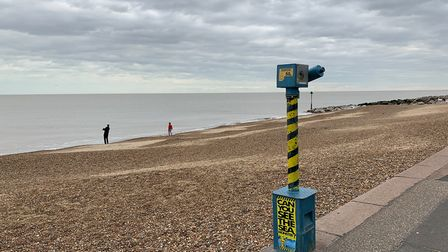 The beach in Felixstowe was very quiet Picture: SARAH LUCY BROWN