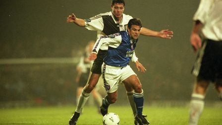 Micky Stockwell in action during Town's 2-0 home defeat against Stockport County in November 1997