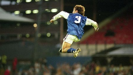 Mauricio Taricco in mid flight after scoring in Town's 5-1 win over Exeter City in August 1998