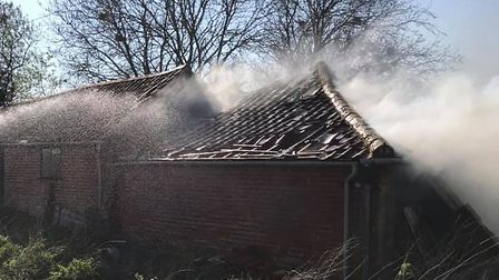 The fire at a property in Wash Lane Mells near Halesworth. Picture: SUFFOLK FIRE AND RESCUE SERVICE
