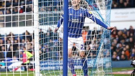 Flynn Downes pictured during Town's 4-1 defeat against Peterborough United at Portman Road. Has enjo