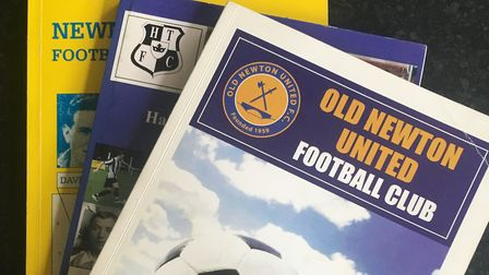Some club history books, including Newmarket Town, Halstead Town and Old Newton United