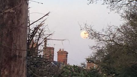 The supermoon rising on Tuesday evening over Leiston Picture: TOM EHRET