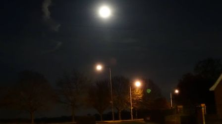 The supermoon over the streets of Ipswich Picture: ALEX RUDIGER