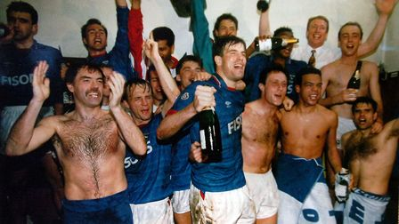 Ipswich Town celebrate promotion from the old Division 2 to the very first Premier League in 1992. P