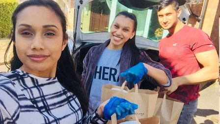 Sharmina Amin and her family made care packages of food and essential items for people in Hadleigh.