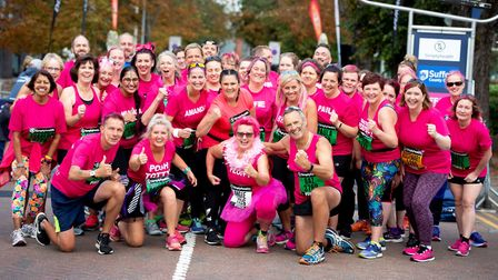 Bridget (front row, second left) and Barry (front row, far right) with Great East Run Outreach progr