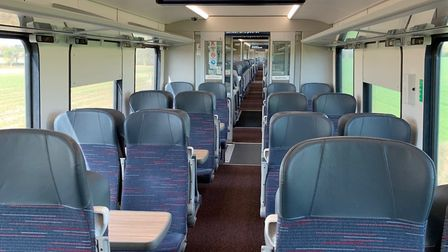 Only three people were on the train from Norwich to London. Picture: Nathan Long/Greater Anglia