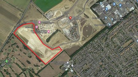 The plot of land in Fornham St Martin for the 330 homes. Picture: GOOGLE MAPS