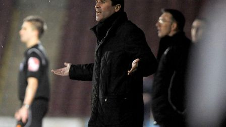 Roy Keane asking questions at Scunthorpe, during a drab 1-1 draw. Keane admitted that not many fans