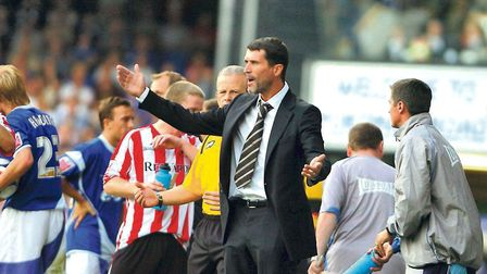 Roy Keane, as manager of Sunderland, on a visit to Portman Road in 2006. Keane joked that he went ov