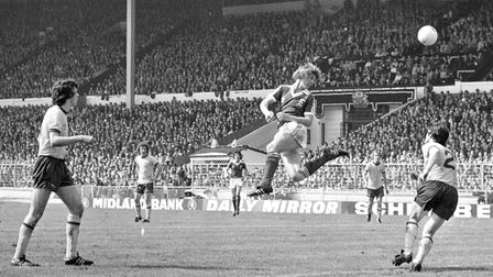 Clive Woods has a header in the FA Cup final 1978 at Wembley against Arsenal. Town won 1-0. Photo: A