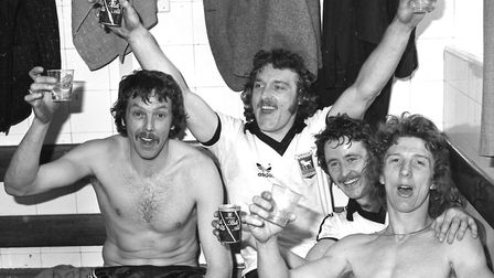(L-R) Allan Hunter, Kevin Beattie, Robin Turner and Clive Woods celebrate reaching the FA Cup final,