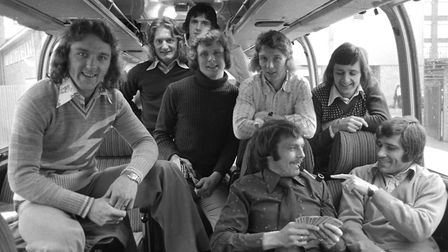 Is Big Al's pipe a joke? Town players are in good spirits as they leave by coach to take on Leeds in