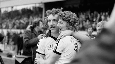 Kevin Beattie and Clive Woods celebrate their 3-1 victory over West Brom at Highbury in 1978 in the