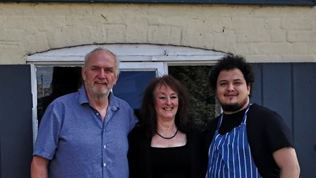 Ken and Mags Anderson, with chef Dwayne Ballantyne Clarke Picture: The Blaxhall Ship