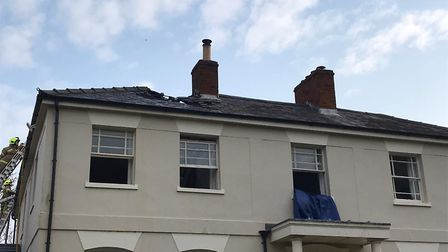 The fire started in the roof of the Victorian hall and spread across two floors Picture: SUFFOLK FI
