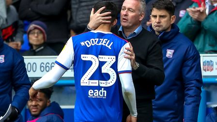 A hug for Andre Dozzell from Ipswich Town manager Paul Lambert. Photo: Steve Waller