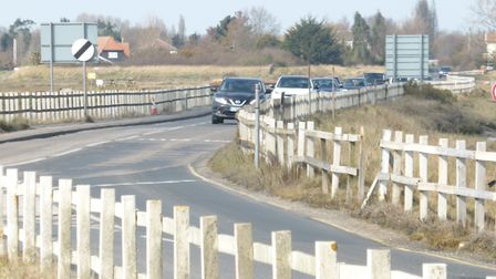 The Strood to Mersea Island, which can get cut off during high tide Picture: PETER WILES