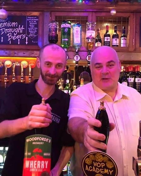 Sean Driscoll and Paul Stewart the general manager of the Masons Arms in better days Picture: CONTRI