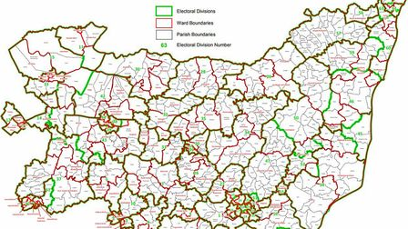 The current division boundaries for Suffolk County Council. Picture: SCC/ORDNANCE SURVEY/CROWN COPYR