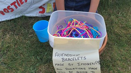 Imogen with her rainbow bracelets. Picture: LAURA COLLINS
