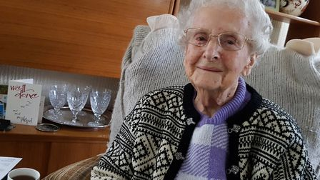 Former Royal Navy teleprinter Marjorie West from Dedham, has completed 100 laps of her garden for th
