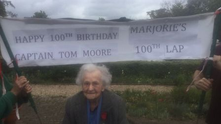 On Captain Tom's birthday, Marjorie West, 99, completed her 100th lap and is going to continue walk