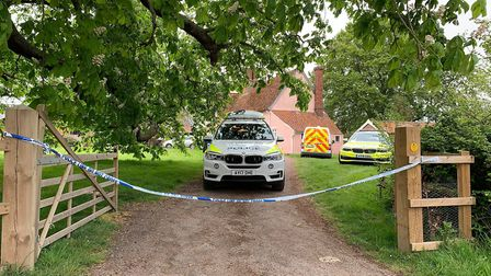 A polic cordon remained in place yesterday evening in Barham after a man was arrested on suspicion o