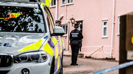 Police attend the scene of a shooting in Barham Picture: SARAH LUCY BROWN