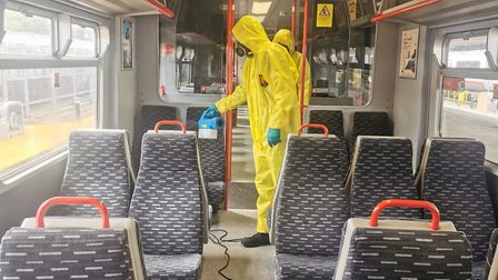 Fogging gun being deployed on a Greater Anglia train Picture: GREATER ANGLIA