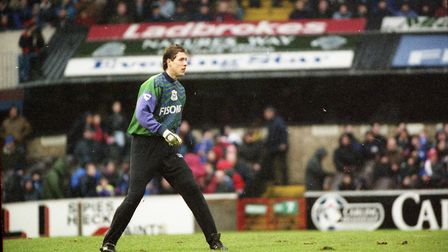 Craig Forrest pictured in the Blues game against Chelsea in January 1995
