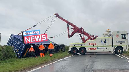 The lorry overturned on the A120 by the Horsley Cross roundabout. Picture: ESSEX POLICE