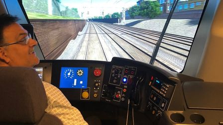 Train driver Kev Facer learns on the new train simulator. Picture: GREATER ANGLIA